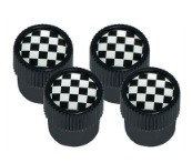 Valve Cap Set Chequered Flag design with Black Outer