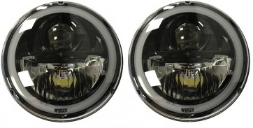 "7"" Wipac LED Headlights With Halo - RHD Black"