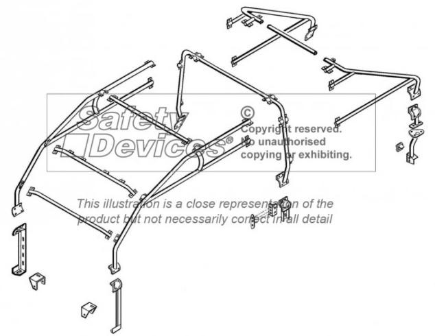 safety devices defender 110 double cab roll cage internal    external - devon 4x4