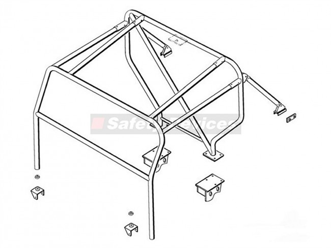 safety devices defender 90 external roll cage with bulkhead - devon 4x4