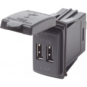 12v Twin High Speed USB Carling Switch Socket With Cover 4.8A