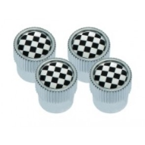 Valve Cap Set Chequered Flag design with Silver Outer