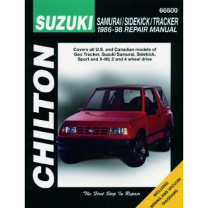 Suzuki Samurai, Sidekick & Tracker Chilton Repair Manual covering all models of Geo Tracker, Suzuki Samurai, Sidekick, Sport & X-90 for 1986-98