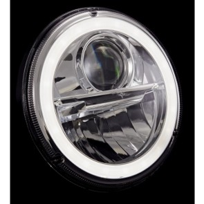 "7"" Wipac LED Headlights With Halo - LHD Chrome"