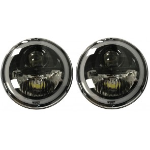 "7"" Wipac LED Headlights With Halo - LHD Black"