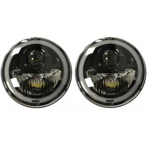 "7"" Wipac LED Headlights With Halo - LHD Black picture"